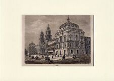 Antique matted print Basilica Royal Palace Mafra Portugal 1865 woodcut