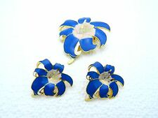 VTG Gold Tone Blue & Pink Hibiscus Flower Brooch & Earring Set