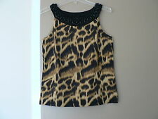 Jones New York Signature Animal Print Crochet/Bead Border Knit Tank Cami Sz M