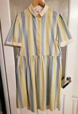 Vintage St Michael M&S Shirt Dress 18 W41 Bust 44 Striped Blue Yellow Summer 80s