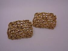 VINTAGE WOVEN STUD EARRINGS RECTANGULAR GOLD TONE METAL PARTY PROM FESTIVAL