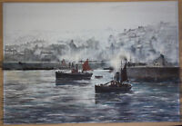 IRISH HARBOR WATERCOLOR BY EDWARD EMERSON, SIGNED