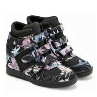 Black Floral Sneaker Wedge Heels Multiple Straps Women's Shoes Karmie