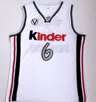 Retro Manu Ginobili #6 Kinder Bologna Men's Basketball Jersey Stitched White