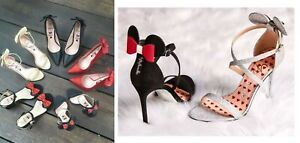 Primark Disney Minnie Mickey Mouse Black Gold Red Bow Glitter Heel Heels Shoes