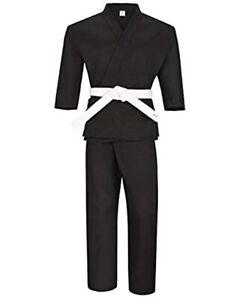 NEW Lightweight Karate Uniform Gi 6.5 oz White & Black w/ White Belt ADULT & KID
