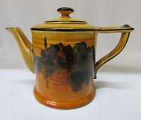 Tea Pot Teapot Signed Royal Doulton England D2846 Gold Yellow Castle Rare Old