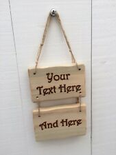 Handmade Personalised Rustic Wooden Design Your Own Sign Plaque 15cm x 10cm 2pc