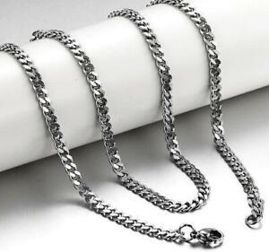 Wholesale 10pcs 5mm Titanium Steel Mens Beveled Curb Link Chain Silver Necklace
