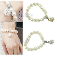 Korean Fashion Lady Women's Girls Pearl Ball Stretch Bracelet Bangle