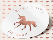 25 ROSE GOLD Unicorn Birthday Stickers Party Sweet Bag 18TH 21ST Horse