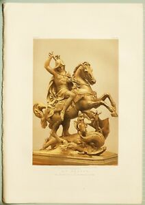 LARGE 1862 EXHIBITION PRINT ST GEORGE & THE DRAGON BY CHEVALIER DE FERNKORN