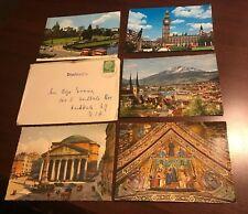 Set of 5 Vintage European Postcards, English, Swiss, Italian & Extra