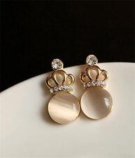 New crown Earrings Crystal Earrings 18 Carat Gold White Opal Earrings A048