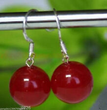Beautiful tibet silver 12mm red jade earring