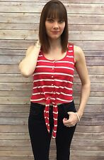 Ladies Red Striped Cropped Vest Top Size 10 Internacionale BNWOT