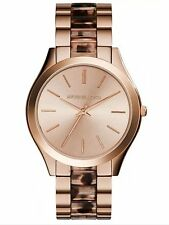 🎗NWT Michael Kors Women's Slim Runway Blush Tortoise Rose Gold-Tone Watch🎗