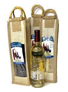 Wine Totes Lot Of 3 Gift Bag Presentation Vino Burlap Wood