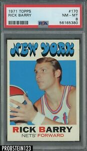 1971 Topps Basketball #170 Rick Barry New York Nets RC Rookie HOF PSA 8 NM-MT