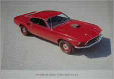 1969 Ford Mustang 428 SCJ Fastback car print (red)