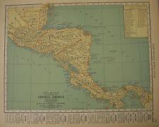 Antique 1929 Map Central America Honduras Nicaragua Costa Rica Panama Guatemala