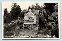 Virginia, MN - EARLY ROADSIDE SIGN - GREAT LAURENTIAN DIVIDE - RPPC - Z5