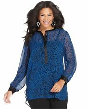 NWT JESSICA SIMPSON SZ 2X JENNI LONG SLEEVE ANIMAL PRINT TUNIC  TOP   PLUS SIZE
