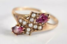 Antique Pearl and Pink Tourmaline RING Size 8