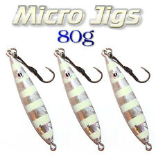3PC Glow Jigs Butterfly Metal Jig Fishing Lure 80g Snapper Jigging Micro Lures