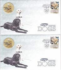 2008 WORKING DOGS FDC WITH GUIDE DOGS AUSTRALIA BADGE 2 X CONSECUTIVE NUMBERS