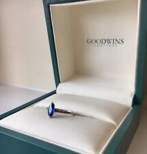 Marquis cut Blue Sapphire Engagement Ring and Diamond wedding band