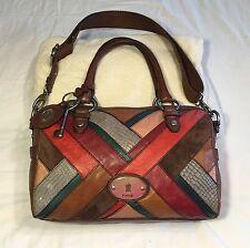 Fossil Maddox Multi Patchwork Cross Body Satchel Purse Handbag Pocketbook