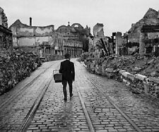 "Man walking through a destroyed German City 8""x 10"" WWII Photo 372"