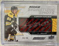 2019-20 ENGRAINED KARSON KUHLMAN ROOKIE SIGNATURE SHOTS AUTO /99 RED STICK BRUIN