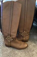 TORY BURCH AMANDA Equestrian Brown Leather Riding Boots Size 8 M