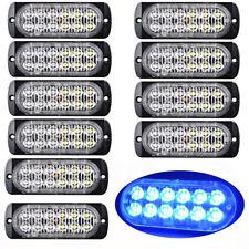 10pcs Ultrathin Blue 12LED Car Flash Emergency Hazard Warning Strobe Light Bar