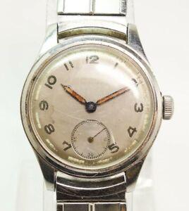1940-50s Girard Perregaux 30-2707 Mens Stainless Wristwatch