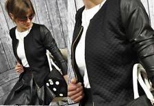 NEU Damen Gesteppter Blazer mit Ökoleder + Reißverschluss S-XXXXL  36-48 (179)