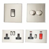 Screwless Brushed Steel LSS3 Plug Sockets, Light Switches, Dimmers, Cooker, Fuse