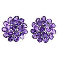 Sterling Silver Earrings Purple Amethyst Genuine Gems Cluster Stud Design