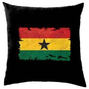 """Ghana Grunge Style Flag - Cushion - (16"""") - 8 Colours"""