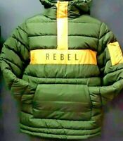 Unisex Rebel Minds Bubble Jacket - Olive Green/Yellow