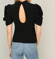 Black Green Puff Sleeve Short Sleeve Stand Collar Shirt Blouse Top Casual Work