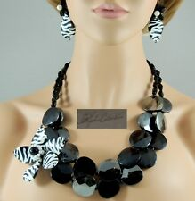 NEW! Double Faceted Discs w/ Zebra Flower Pendant & Earrings Set