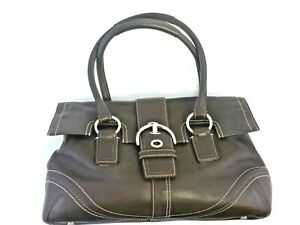 Coach Soho Genuine Brown Leather Satchel Flap Front F10913 Large Handbag Purse