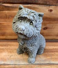 STONE GARDEN DETAILED SITTING TERRIER WESTIE YORKIE DOG GIFT STATUE ORNAMENT