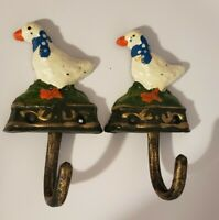 Vintage Geese Cast Iron Hooks Hand painted NOS Wall / Garden Tool Fence hooks