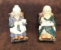 Vintage Ceramic Hand Painted Made in Japan Old Man and Women Bank Cat Dog