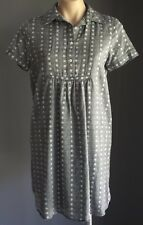 Pre-owned Grey, Black & White MAX STUDIO Short Sleeve Shirt Dress Size S/8