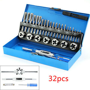 US PRO 32pc Metric Tap and Die Set Alloy Steel Pitch Gauge M3 - M12 2625